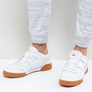 Reebok Workout Low Plus White and Gum Sneakers 10